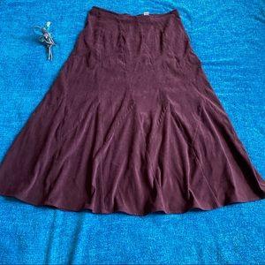 Burgundy Christopher & Banks Corduroy Midi Skirt